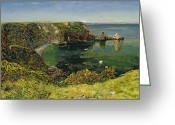 Coastal Landscape Greeting Cards - Ansteys Cove in Devon Greeting Card by John William Inchbold