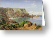 Cliff Painting Greeting Cards - Anstys Cove Greeting Card by John William Salter