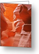 Dramatic Light Greeting Cards - Antelope Canyon - Natures Art Gallery Greeting Card by Christine Till