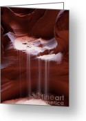 Tumbleweed Greeting Cards - Antelope Canyon Sand Stream Greeting Card by Sandra Bronstein