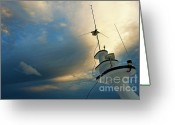 Cruise Ships Greeting Cards - Antennas of a divers cruise boat at sunset Greeting Card by Sami Sarkis