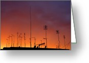Broadcast Antenna Greeting Cards - Antennas On Sunset Greeting Card by Matusciac Alexandru
