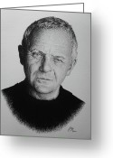 Graphite Greeting Cards - Anthony Hopkins Greeting Card by Andrew Read