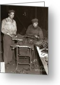 Edgar Greeting Cards - Anthracite Coal Artist  Charles Edgar Patience on right  1906-1972 in studio 1953    Greeting Card by Arthur Miller