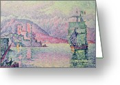 Post-impressionist Greeting Cards - Antibes Greeting Card by Paul Signac