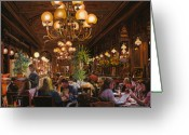 Food Art Painting Greeting Cards - Antica Brasserie Greeting Card by Guido Borelli