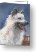 Dogs Pastels Greeting Cards - Anticipating Their Return Greeting Card by Arline Wagner