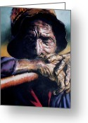 Man Pastels Greeting Cards - Anticipation Greeting Card by Curtis James