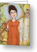 Ephemera Collage Greeting Cards - Anticipation Greeting Card by Kathy Cameron
