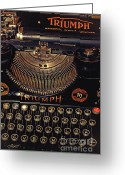 Outmoded Digital Art Greeting Cards - Antiquated Typewriter Greeting Card by Jutta Maria Pusl