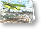 Central Drawings Greeting Cards - Antique Airplane Taking Flight Greeting Card by Bill Friday