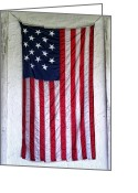 Hanging Greeting Cards - Antique American Flag Greeting Card by Olivier Le Queinec