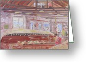 Clayton Painting Greeting Cards - Antique Boat Museum-Restoring the Wild Goose Greeting Card by Robert P Hedden