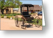 Old Country Roads Greeting Cards - Antique Carriage in Round Top Texas  Greeting Card by Connie Fox