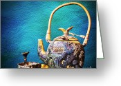 Background Ceramics Greeting Cards - Antique ceramic teapot Greeting Card by Setsiri Silapasuwanchai
