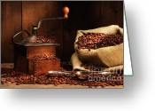 Coffee Beans Greeting Cards - Antique coffee grinder with beans Greeting Card by Sandra Cunningham