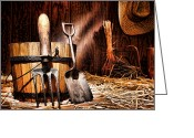 Shed Photo Greeting Cards - Antique Gardening Tools Greeting Card by Olivier Le Queinec