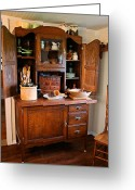 Wooden Ware Greeting Cards - Antique Hoosier Cabinet Greeting Card by Carmen Del Valle
