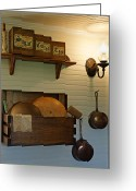Wooden Ware Greeting Cards - Antique Kitchen Wares Greeting Card by Carmen Del Valle