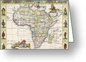Old Map Drawings Greeting Cards - Antique Map of Africa Greeting Card by Dutch School