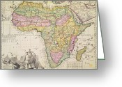 Atlantic Ocean Drawings Greeting Cards - Antique Map of Africa Greeting Card by Pieter Schenk