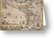 Border Drawings Greeting Cards - Antique Map of America Greeting Card by Jodocus Hondius