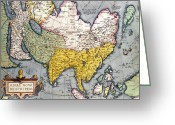 Old Map Drawings Greeting Cards - Antique Map of Asia Greeting Card by Claes Jansz