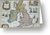 Old Map Drawings Greeting Cards - Antique Map of Britain Greeting Card by English School