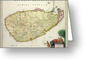 Old Map Drawings Greeting Cards - Antique Map of Ceylon Greeting Card by Nicolas Visscher