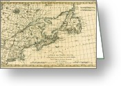 Border Drawings Greeting Cards - Antique Map of Eastern Canada Greeting Card by Guillaume Raynal