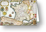 Border Drawings Greeting Cards - Antique Map of France Greeting Card by French School