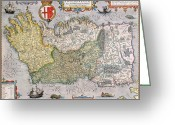 Old Map Drawings Greeting Cards - Antique Map of Ireland Greeting Card by  English School