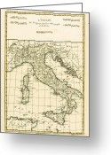 Italy Drawings Greeting Cards - Antique Map of Italy Greeting Card by Guillaume Raynal