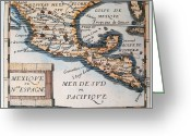 Old Fashioned Painting Greeting Cards - Antique Map of Mexico or New Spain Greeting Card by French School