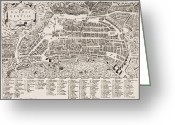 Old Country Roads Painting Greeting Cards - Antique Map of Naples Greeting Card by Italian School