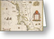 Galleons Greeting Cards - Antique Map of New Belgium and New England Greeting Card by Joan Blaeu