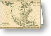 Atlantic Drawings Greeting Cards - Antique Map of North America Greeting Card by Guillaume Raynal