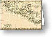 Pacific Drawings Greeting Cards - Antique Map of Southern Mexico Greeting Card by Guillaume Raynal