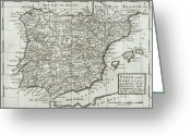 Atlantic Ocean Drawings Greeting Cards - Antique Map of Spain and Portugal Greeting Card by Hermann Moll