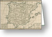 Peninsular Greeting Cards - Antique Map Of Spain Greeting Card by Guillaume Raynal