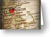 Road Map Greeting Cards - Antique Map with a Heart over the city of Boston in Massachusett Greeting Card by ELITE IMAGE photography By Chad McDermott