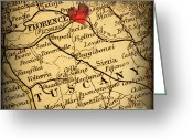 Road Map Greeting Cards - Antique Map with a Heart over the city of Florence in Italy Greeting Card by ELITE IMAGE photography By Chad McDermott