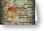 Road Map Greeting Cards - Antique Map with a Heart over the city of London in England Grea Greeting Card by ELITE IMAGE photography By Chad McDermott