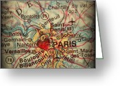 Road Map Greeting Cards - Antique Map with a Heart over the city of Paris in France Greeting Card by ELITE IMAGE photography By Chad McDermott