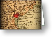 Road Map Greeting Cards - Antique Map with a Heart over the city of Venice in Italy Greeting Card by ELITE IMAGE photography By Chad McDermott
