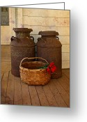 Antique Basket Greeting Cards - Antique Milk Cans On Porch Greeting Card by Carmen Del Valle