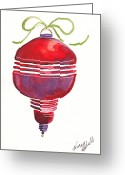 Holiday Notecard Greeting Cards - Antique Ornament In Red Greeting Card by Michele Hollister - for Nancy Asbell