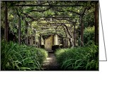 Gazebo Greeting Cards - Antique Pergola Arbor Greeting Card by Olivier Le Queinec