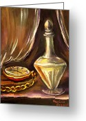 Pocket Painting Greeting Cards - Antique Pocket Watch Crystal Vase Greeting Card by Khatuna Buzzell