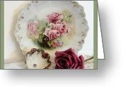 Sage Green Greeting Cards - Antique Rose Plate and Fingerbowl Greeting Card by Marsha Heiken